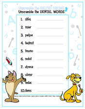 Unscramble the Dental Words activity sheet - Pediatric Dentist in Mechanicsburg and Harrisburg, PA
